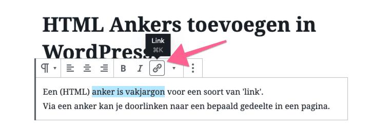 HTML anker linken in WordPress
